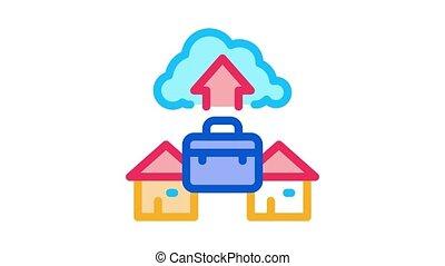 travail, magasin, nuage, animation, icône, éloigné
