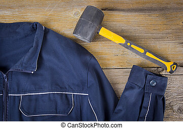 travail, maillet, vêtements