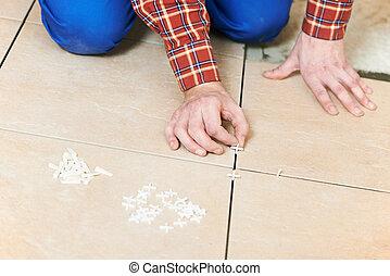 travail, maison, carreleur, rénovation, mains