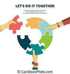 travail, mettre, vecteur, fond, business, ensemble, homme, bon, morceau, finition, puzzle, partenaires, puzzle, projet, concept, final, main.