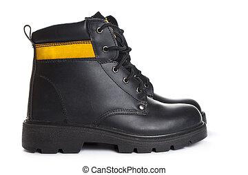 travail, noir, bottes, cuir, fond, élevé, blanc