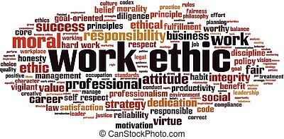 travail, nuage, mot, éthique