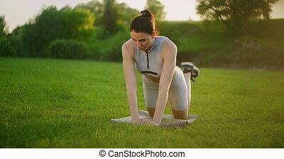 travail, ou, sexy, vue, girl, parc, séance entraînement, ...