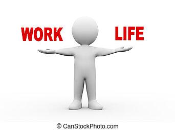 travail, ouvert, 3d, homme, vie, mains