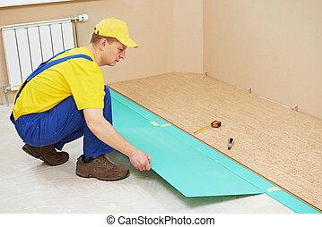 travail, ouvrier, plancher, bouchon
