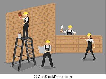 travail, ouvriers, vecteur, construction, illustration
