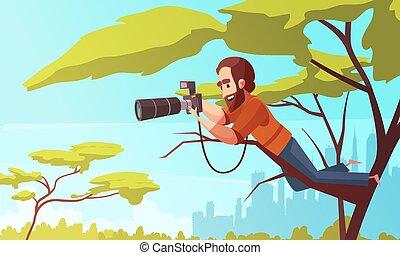 travail, paparazzo, composition