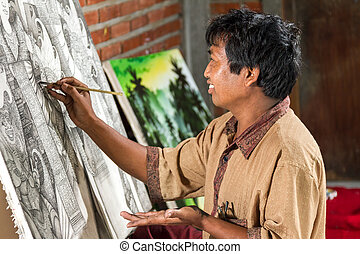 travail, peintre