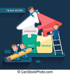 travail, plat, concept, conception, équipe