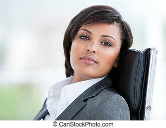travail, portrait, femme, brunette, business