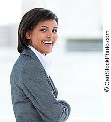 travail, portrait, femme, rire, business