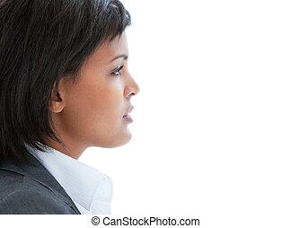 travail, portrait, femme, songeur, business