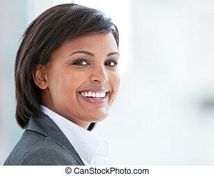 travail, portrait, femme souriante, business