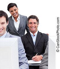 travail, présentation, equipe affaires