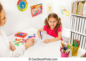 travail, prof, portion, pupille, classe, préscolaire