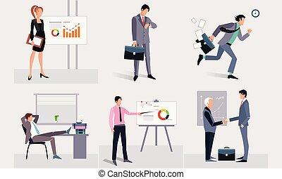 travail, professionnels, prendre, illustration, vecteur, hommes affaires, fond, conférence, partie, présentation, blanc, réunion