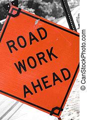 travail, route, devant