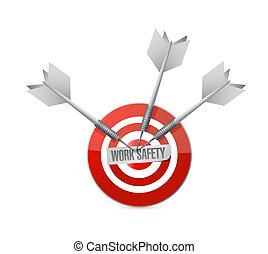 travail, sécurité, cible, signe, concept, illustration