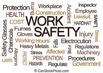 travail, sécurité, mot, nuage