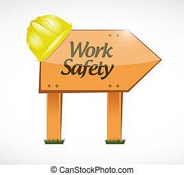 travail, sécurité, signe bois, concept, illustration