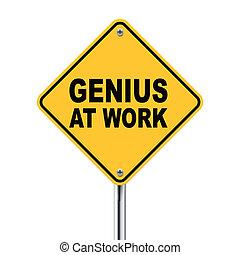 travail, signe jaune, génie, route, 3d