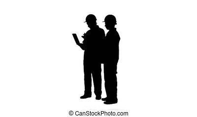 travail, silhouette, matte., techniciens, piste, expérimenté, ordinateur portable, industriel, deux