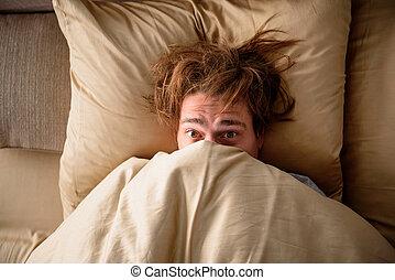 travail, somnolent, haut, réveiller, adulte, chambre à ...
