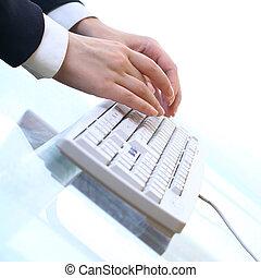 travail, sur, clavier