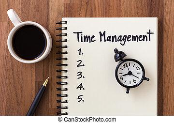 travail, table, gestion, liste, temps