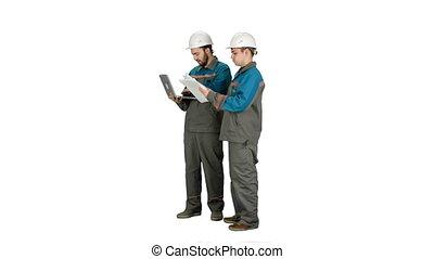 travail, techniciens, expérimenté, blanc, ordinateur portable, industriel, deux, arrière-plan.