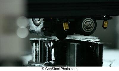 travail, trois dimensionnel, plastique, imprimante, pendant