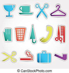 travail, vecteur, ensemble, icônes