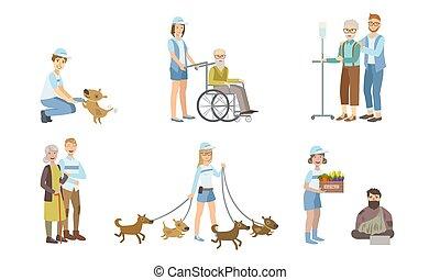 travail, vecteur, marche, portion, femmes, chien, sdf, jeune, ensemble, hommes, personne, gens, volontaires, illustration, handicapé, personnes agées, soutenir
