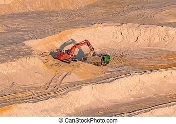travail, verre, excavateur, carrière