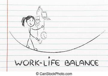 travail, vie, équilibre, &, diriger, responsibilities:, mère...