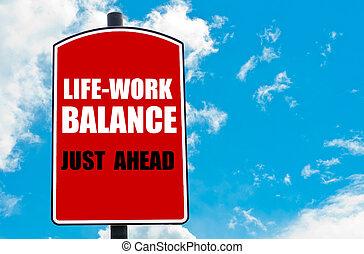 travail, vie, équilibre, juste, devant