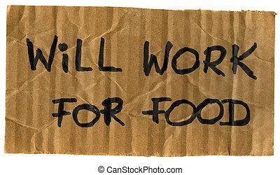 travail, volonté, signe, carton, nourriture