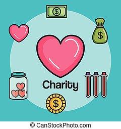 travail, volontaire, donation, concept, charité