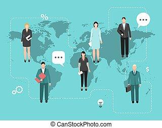 travail, world., vecteur, hommes affaires, mondiale, teaming, illustration., haut, ensemble, collaboration, business, autour de, coworking, carte