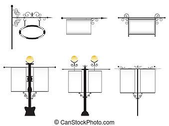 travaillé-fer, lampes rue