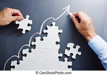 travailler, étapes, formé, puzzle, puzzle., dessin, flèche ascendante, sur, blackboard.