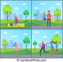 travailleur indépendant, couverture, vecteur, parc, illustration