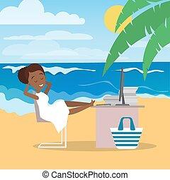 travailleur indépendant, femme, plage, fonctionnement, remotely
