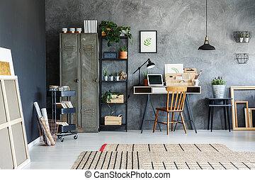 travailleur indépendant, salle, bureau
