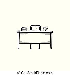 travaillez bureau, main, dessiné, croquis, icon.