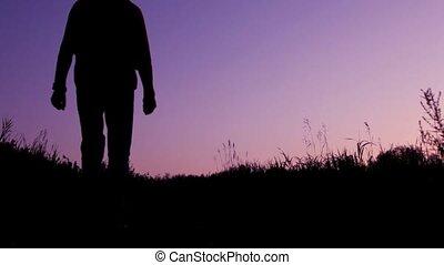 travaler, noha, hátizsák, jár, ellen, ég