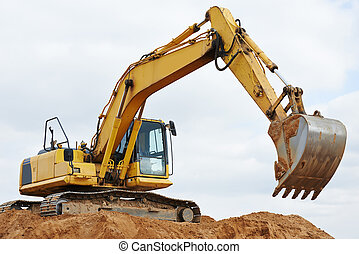 travaux, earthmoving, excavateur, chargeur