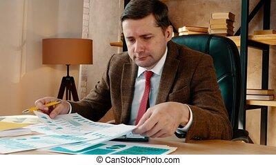 travaux, financier, table., ou, quoique, papiers, homme affaires, financier, séance, statements.