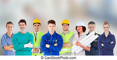travaux, gens, debout, groupe, différent