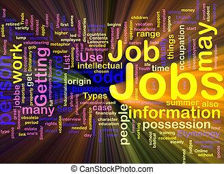 travaux, incandescent, concept, emploi, fond